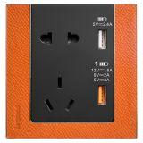 罗格朗开关插座 逸远 橙牛皮 带二三插USB充电插座 五孔USB 快充