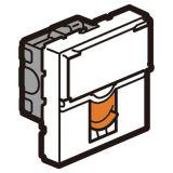 6类非屏蔽模块_一口_带适配器_2M_白色_橙色档板
