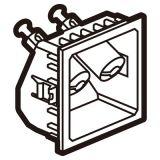 奥特_方型_一位音响插座模块_2个连接头__2M_45*45_金属镁色
