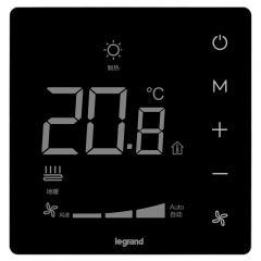 罗格朗开关插座 朗淳 镜面黑 电地暖温控器